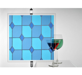 Leaded Light Blue Stained Glass Patterned Window Film