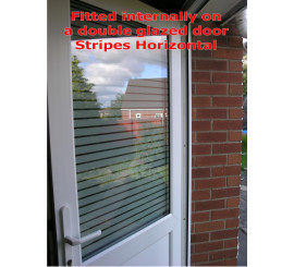 White Bold Striped Patterned Privacy Window Film