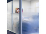 White Bold Striped Glass Window Film