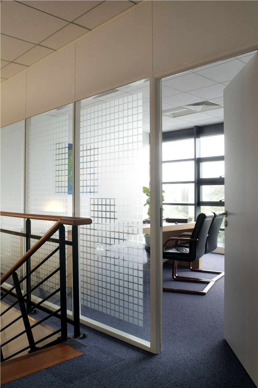 White Bold Block Patterned Privacy Window Film Finish